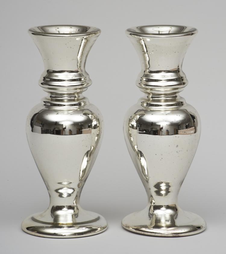 Pair Of Victorian Mercury Glass Vases Circa 1870