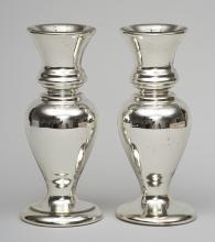 Pair of Victorian Mercury Glass Vases, Circa 1870