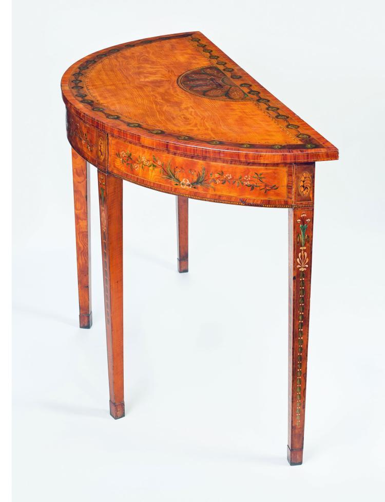 superb george iii inlaid satinwood demi lune console table. Black Bedroom Furniture Sets. Home Design Ideas