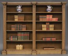William IV Bleached Oak Library Open Bookcase