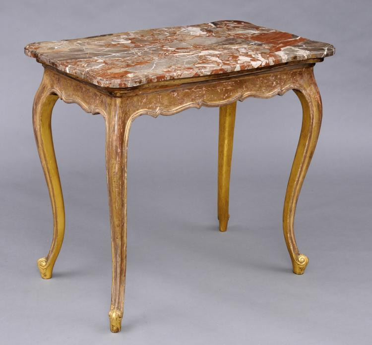 French Giltwood and Breche Marble Console Table