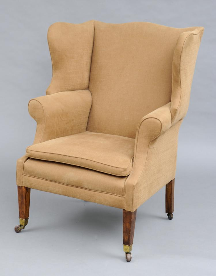 George III Style Mahogany & Ash Wing Chair