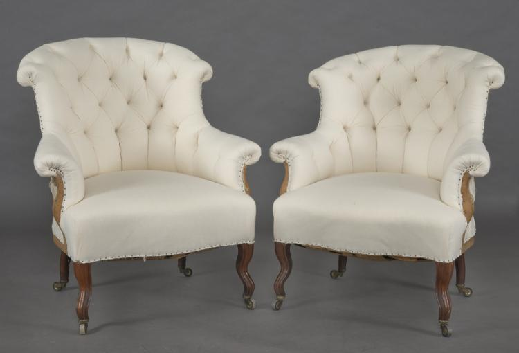 Pair French Napoleon III Armchairs