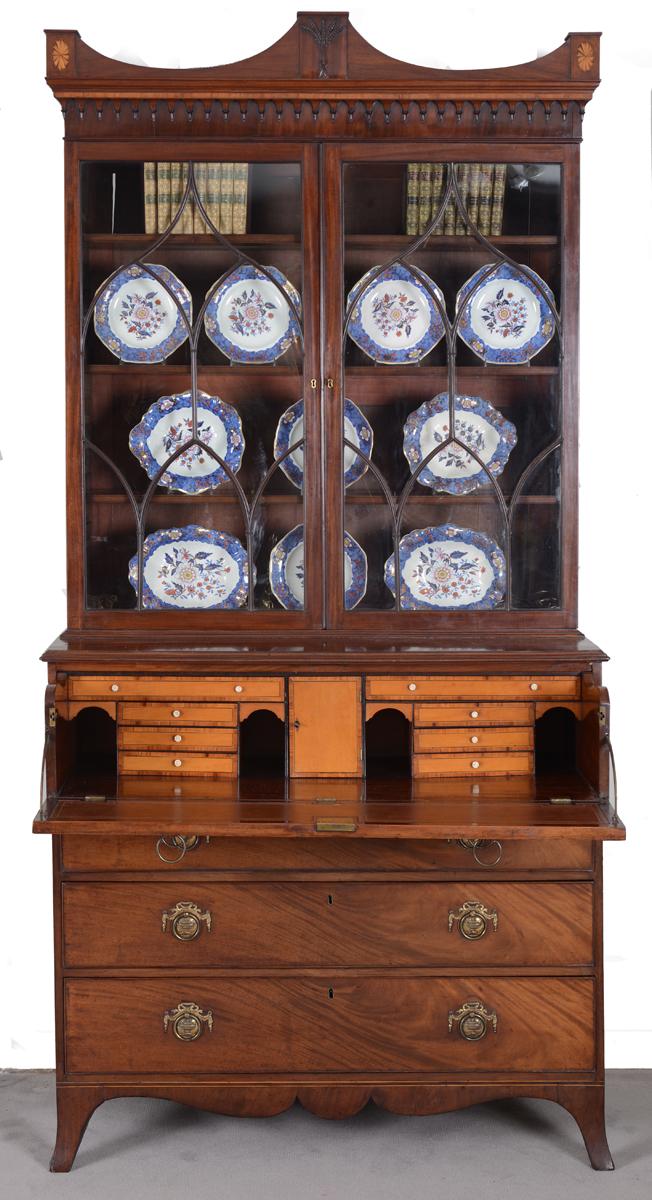 Fine George III Mahogany Library Secretaire Bookcase