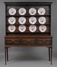 English Georgian Sussex Oak Dresser and Plate Rack