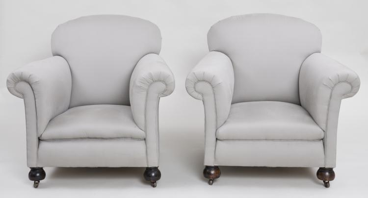 Pair English Club Chairs