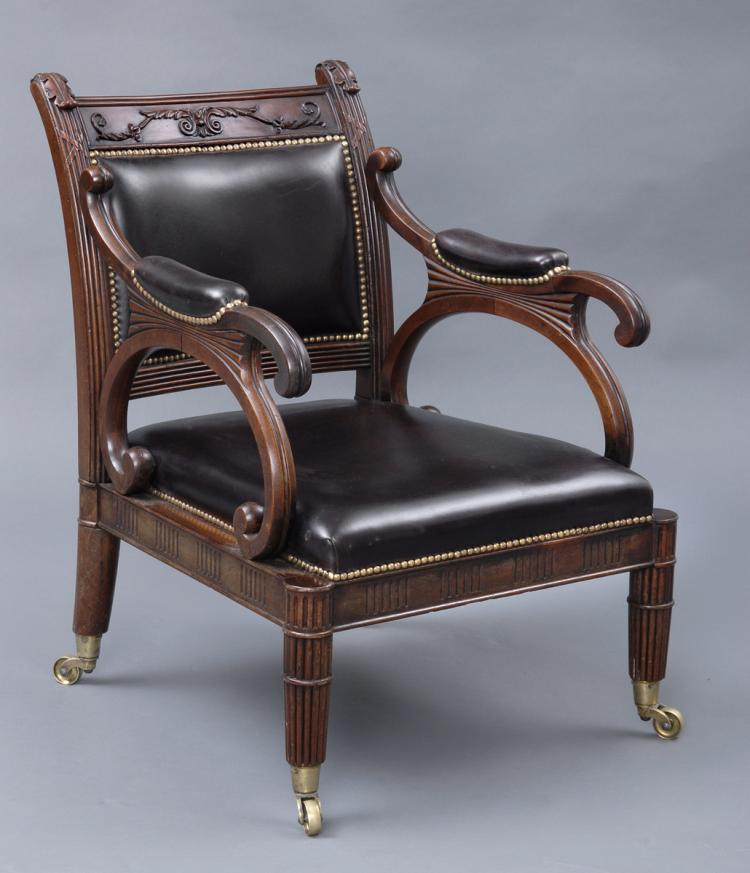 Period Regency Mahogany & Leather Library Armchair, Circa 1820