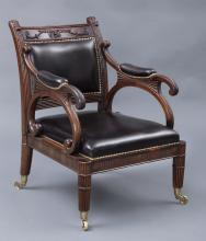Period Regency Mahogany & Leather Library Armchair, Circa 1820