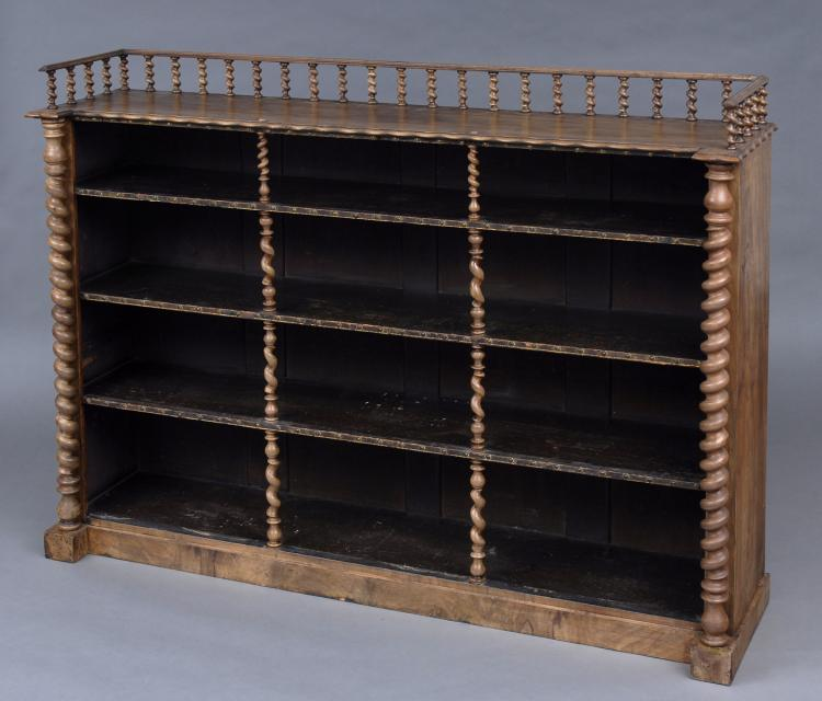 Victorian Walnut Open Bookcase With Barley Twist Columns & Gallery