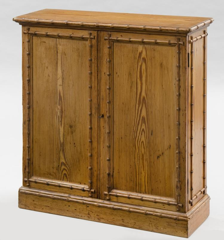 Pine English Antique Faux Bamboo Cabinet