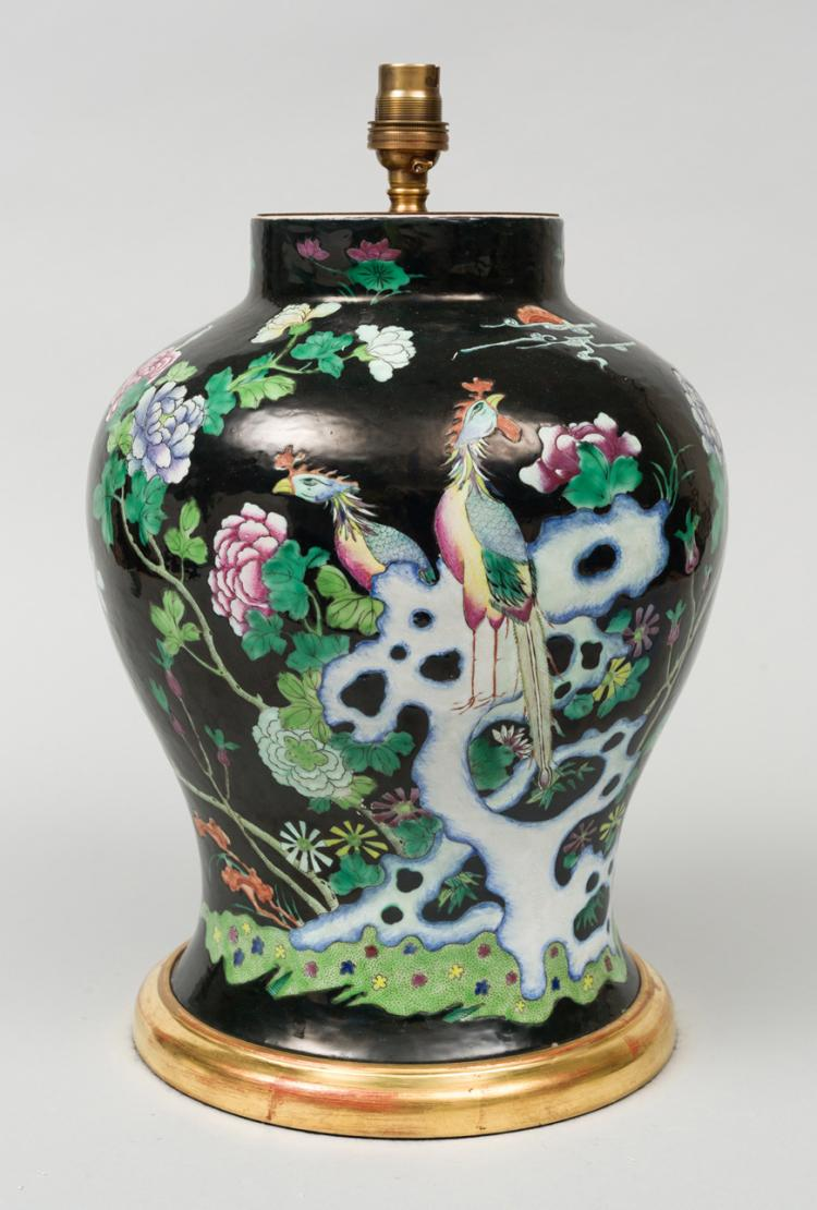 Chinese Famille Noire Vase Lamp