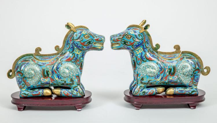 Antique Pair of Chinese Cloisonne Incense Burner Horse Boxes