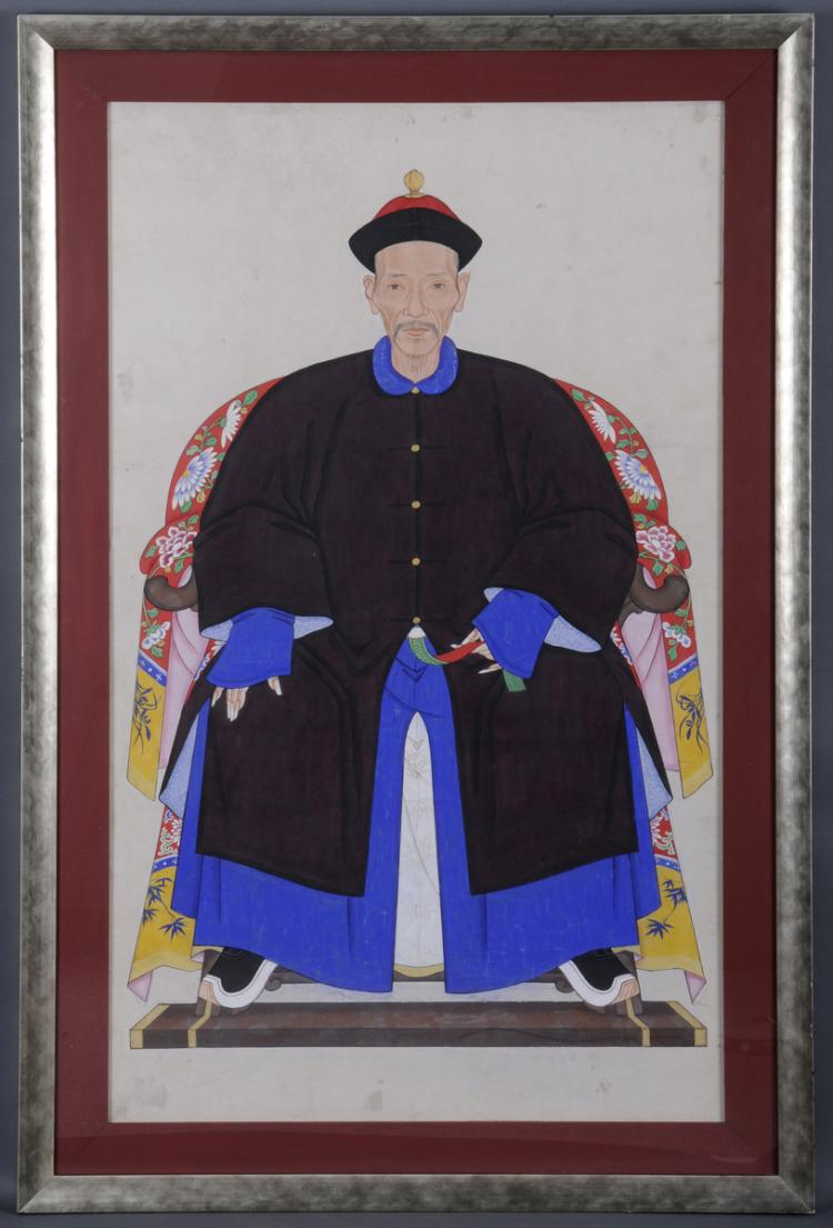 Chinese Ancestor Portrait of a Gentleman, Circa 1850