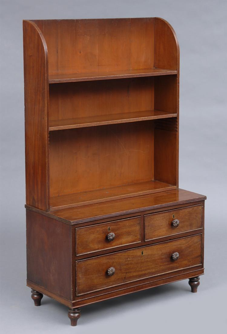 Antique English Small Georgian Mahogany Open Bookcase With Drawers, Circa 1820