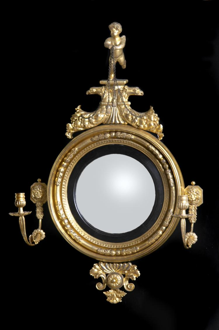 Irish Antique Regency Convex Girondole Mirror