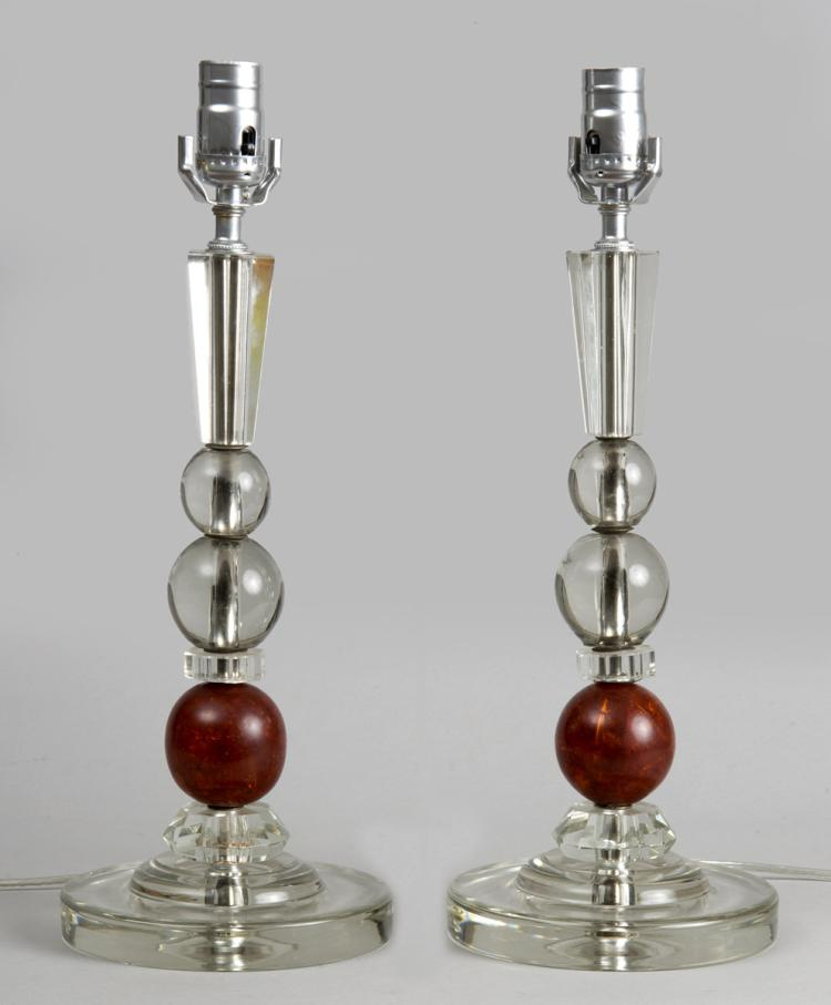 French Pair Art Deco Lamps, Circa 1920