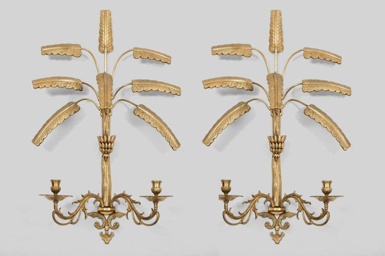 Pair of Large Brass Wall Sconces