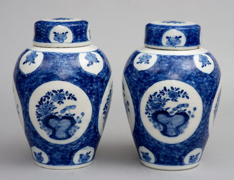 Pair Dutch Delft Blue And White Vases And Lids18th Century