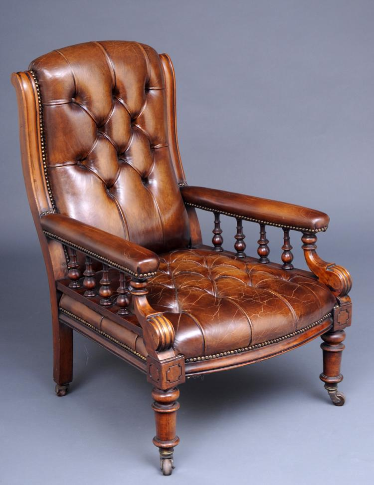 English Victorian Mahogany and Leather Library Armchair, Circa 1860