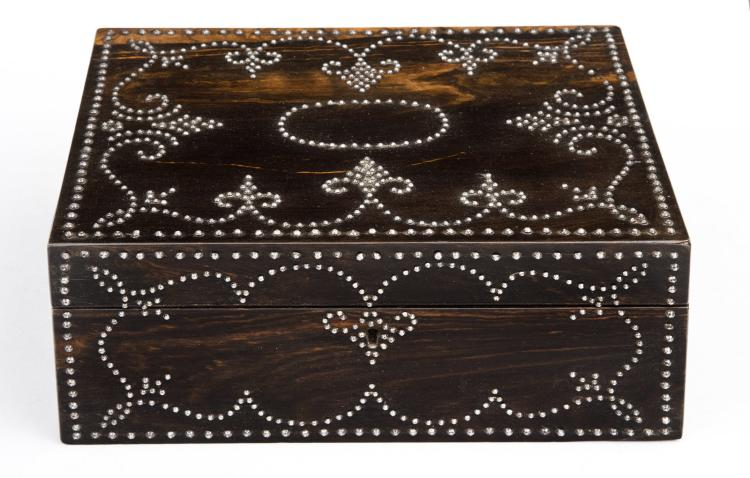 Antique Rosewood & Steel Stud Work Box, Circa 1850