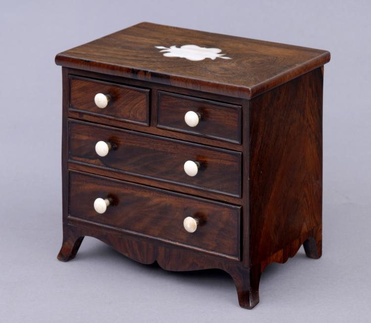 Antique Miniature Rosewood Inlaid Chest, Circa 1820