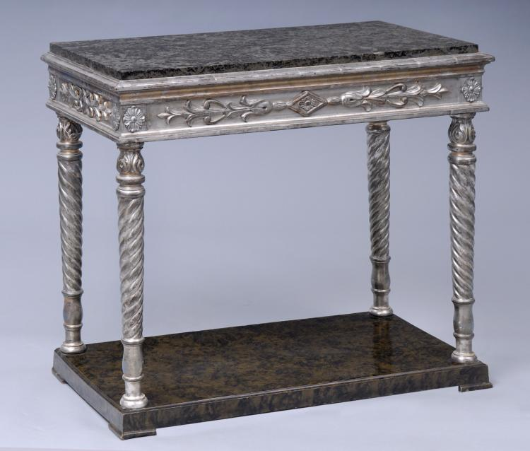 Antique Swedish Silver Leaf & Marble Console Table, Circa 1840