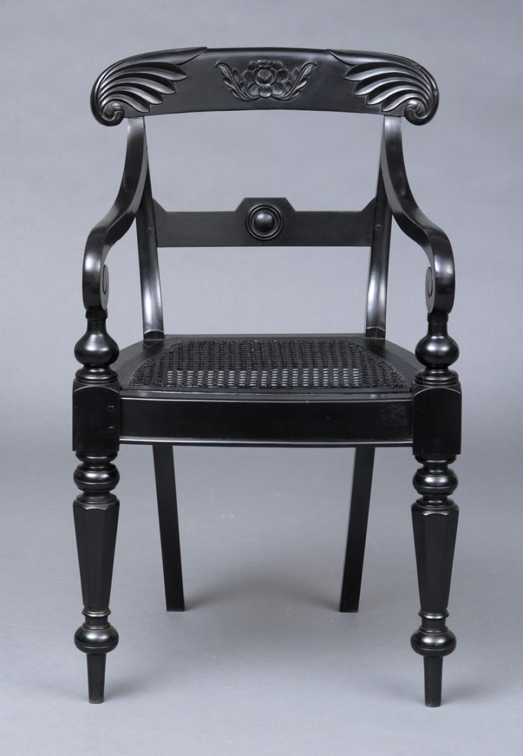 Anglo-Indian Robustly Carved Ebony Armchair, Circa 1840