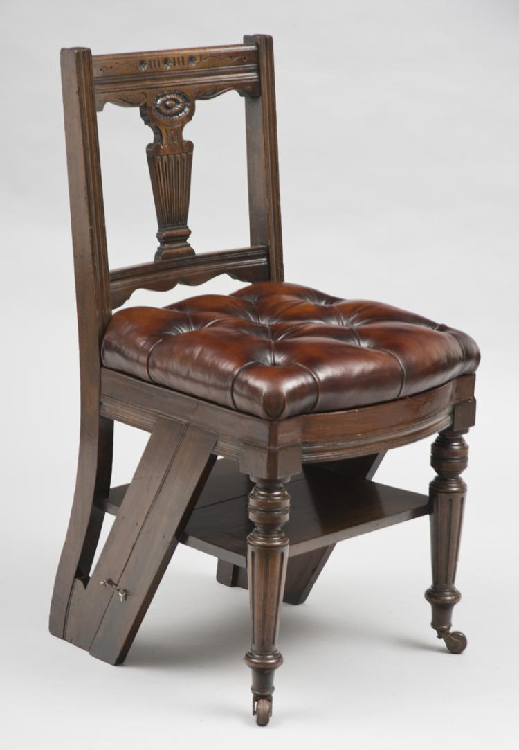 Mahogany Metamorphic Chair and Library Steps, Circa 1870