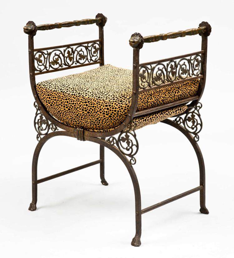 Savonarola Bronze Wrought Iron Hall Bench