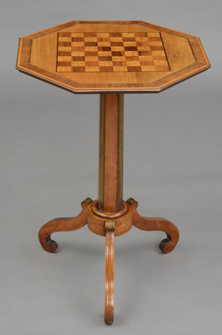 English Regency Brass Inlaid Pedestal Games Table
