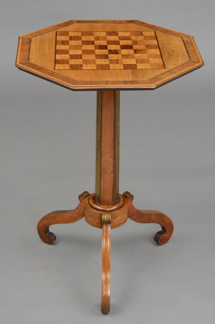 English Regency Brass Inlaid Pedestal Games Table