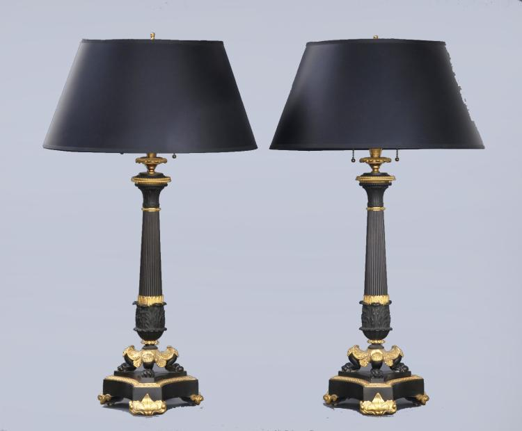 Fine Pair French Bronze & Ormolu Lamps