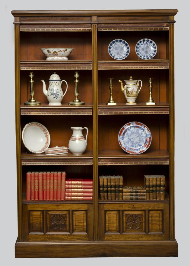 English Victorian Walnut Open Bookcase