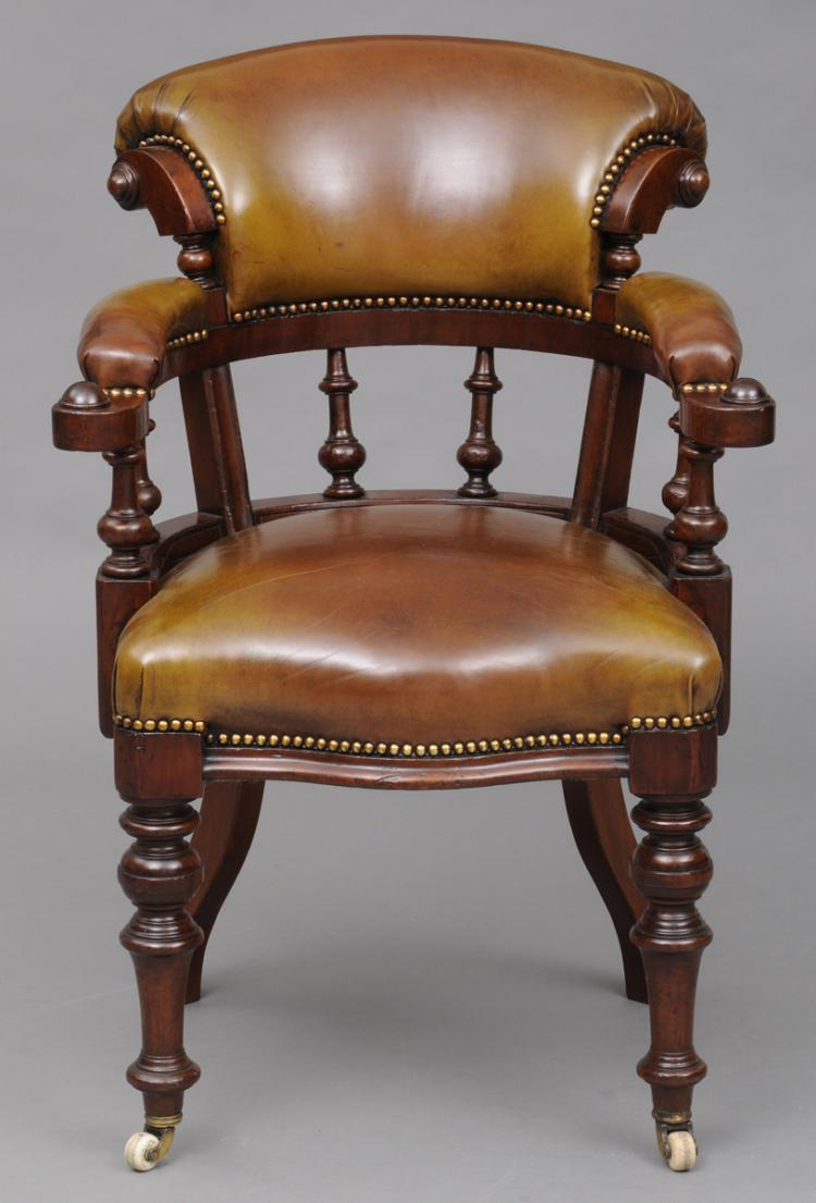 English Victorian Mahogany & Leather Desk Chair, Circa 1870
