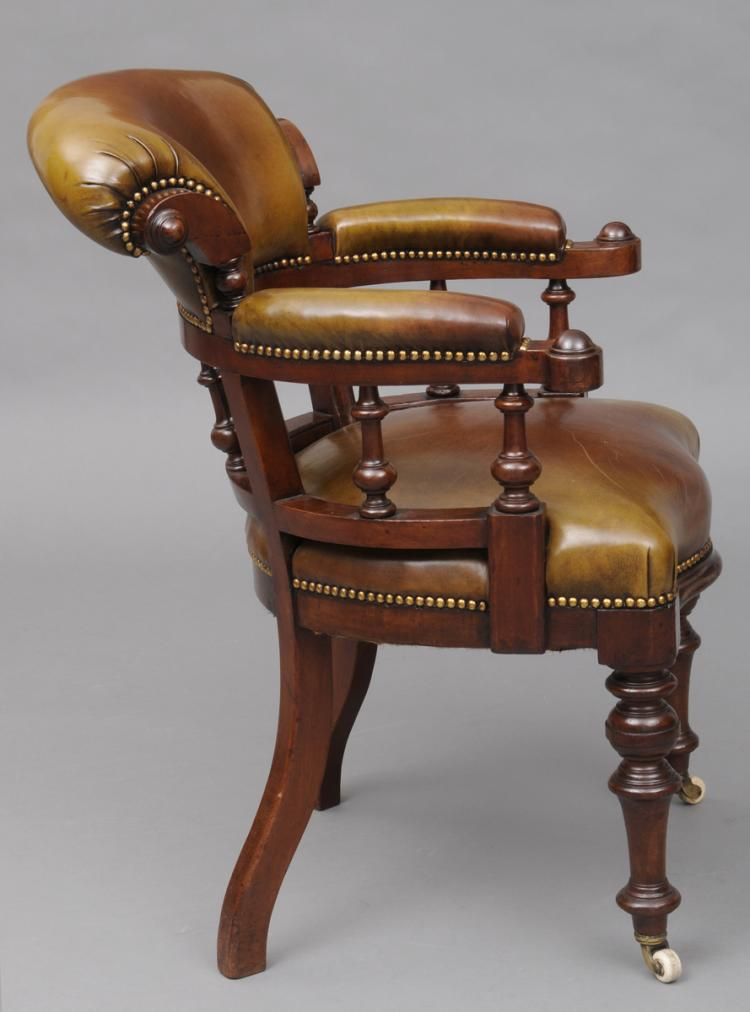 English victorian mahogany leather desk chair circa 1870 for Antique desk chair