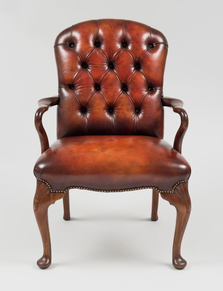 English Mahogany & Leather Shepherd's Crook Armchair