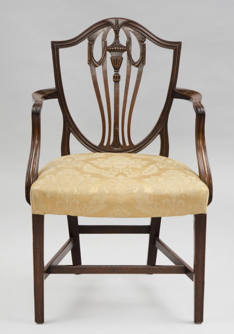 English Period Hepplewhite Shield Back Armchair, 18th Century