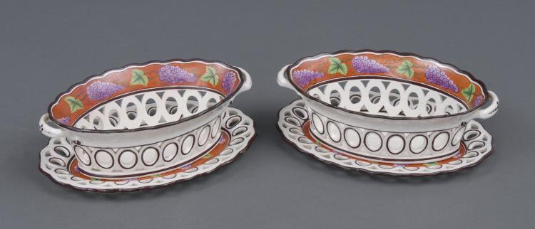 Pair Spode Chestnut Baskets, Circa 1820