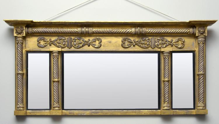 English Regency Overmantle Mirror with Spiral Columns