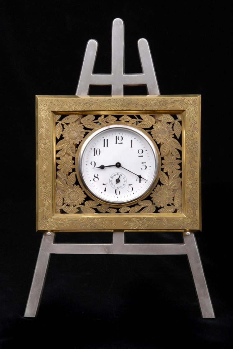 Engish Gilded & Silver Plated Easel Clock, Circa 1880