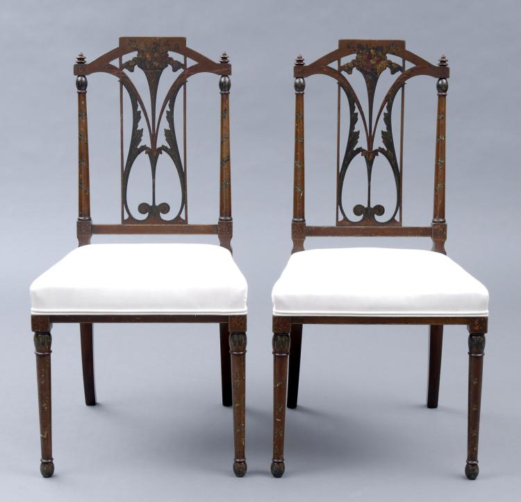 Pair English Edwardian Side Chairs