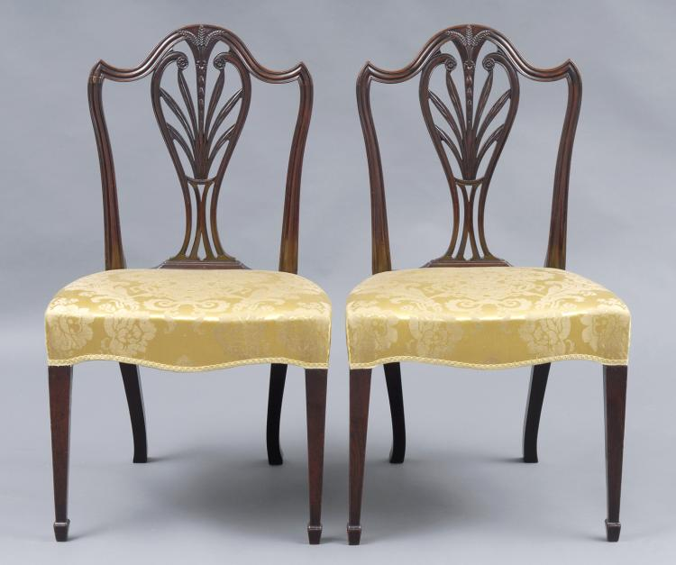Fine Pair Period Hepplewhite Side Chairs, 18th Century