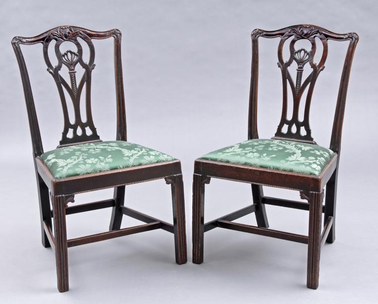 Pair of Period Chippendale Mahogany Side Chairs,18th Century