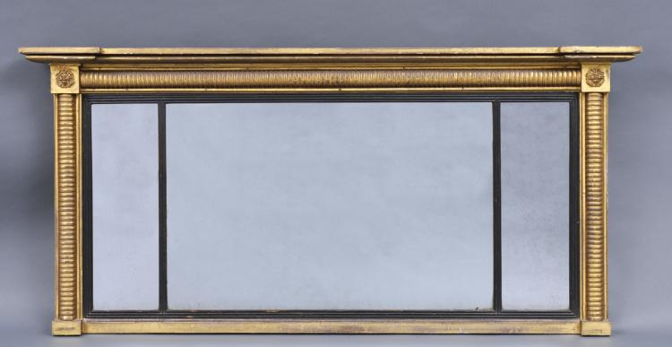 William IV Overmantle Mirror with Reeded Columns