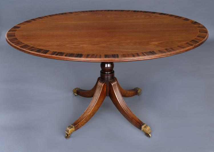 English Regency Period Oval Mahogany Center Table