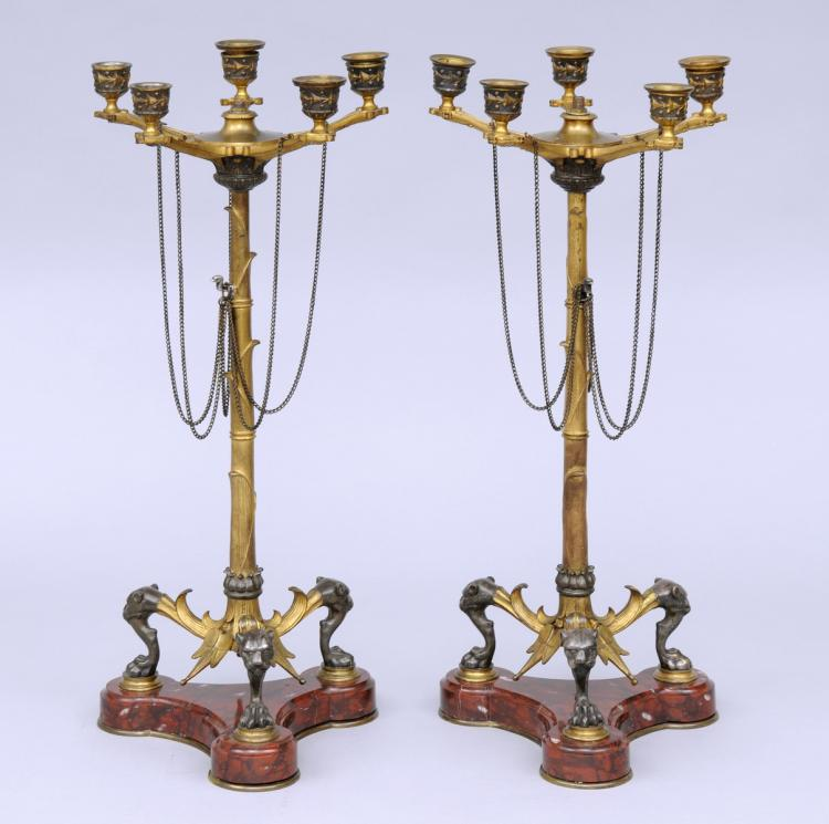 English Pair Renaissance Revival Candelabra