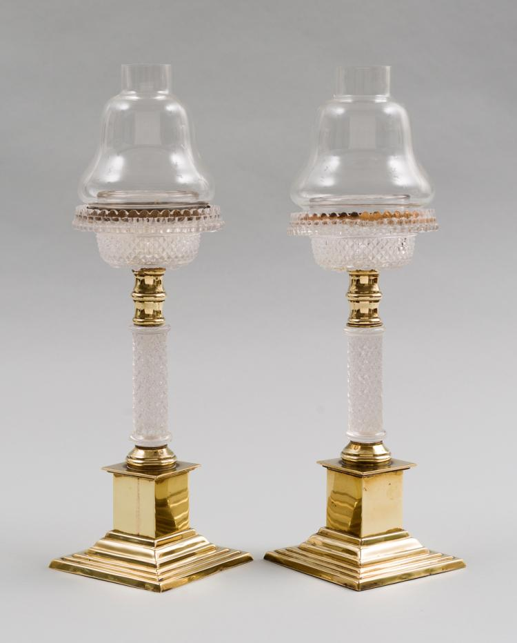 Pair of Antique Glass and Brass Cricklites