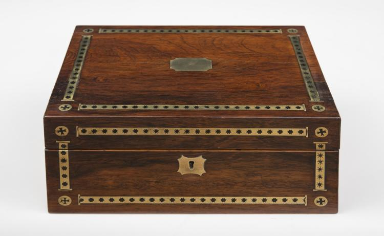 Regency Rosewood Brass Inlaid Dressing Case