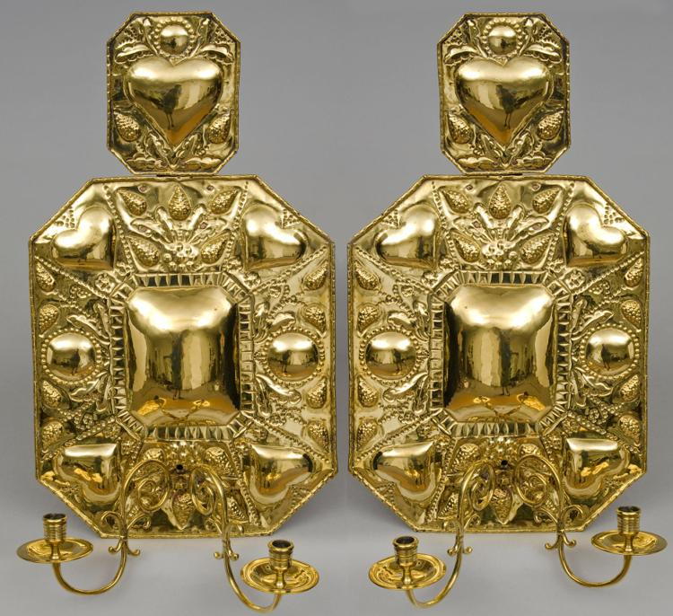 Pair Dutch Antique Brass Wall Sconces