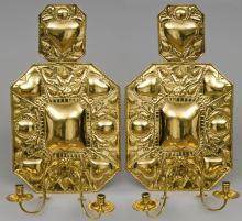 Pair Dutch Antique Brass Wall Sconces